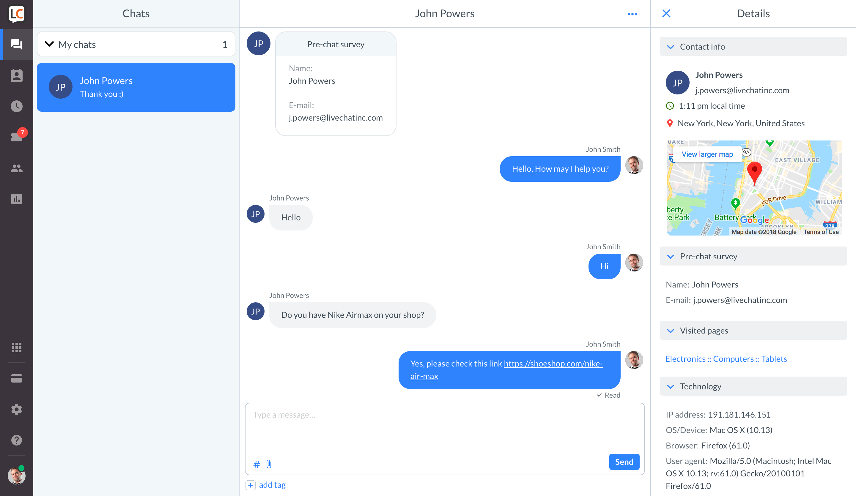 customer service software live chat