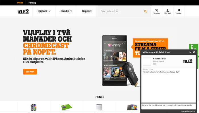 Tele2 website with LiveChat