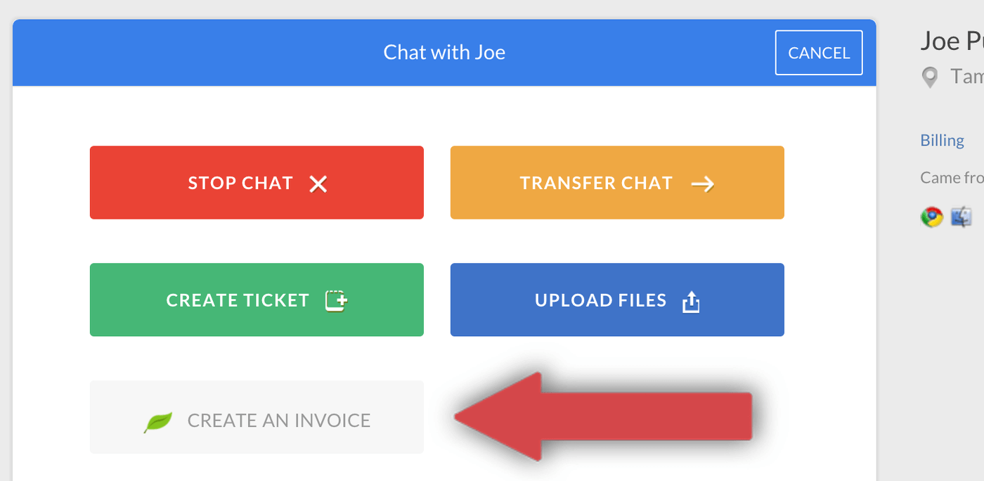 freshbooks create invoices from chat livechat knowledge base
