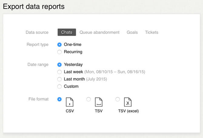 Data export options available in LiveChat