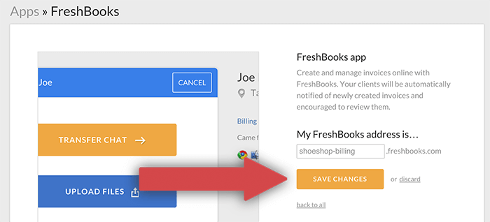 Configuring the FreshBooks app