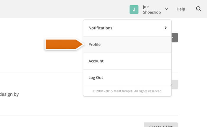 Accessing your account profile in the Mailchimp integration