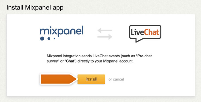 Installing the Mixpanel integration in LiveChat