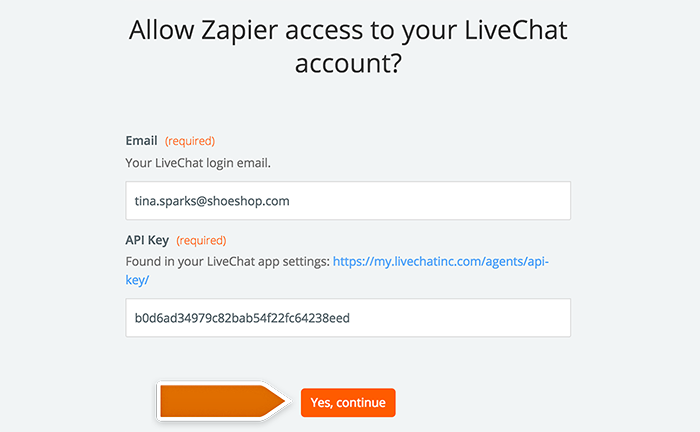 Base CRM integration: Entering your LiveChat account data