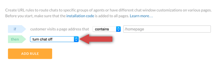 turning LiveChat off on selected pages