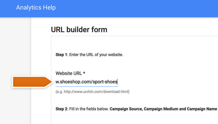 Entering your URL address in the URL builder