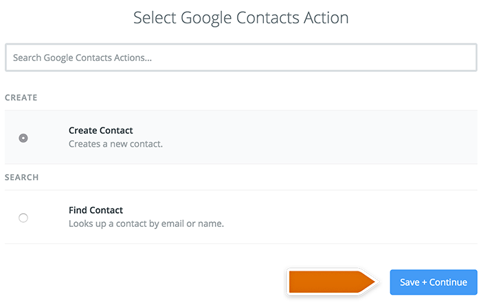 Selecting Google Contacts action
