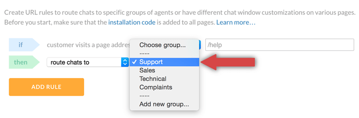 selecting LiveChat group for URL rule