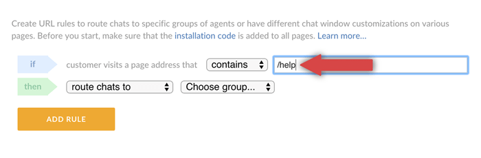 selecting a page for URL rule