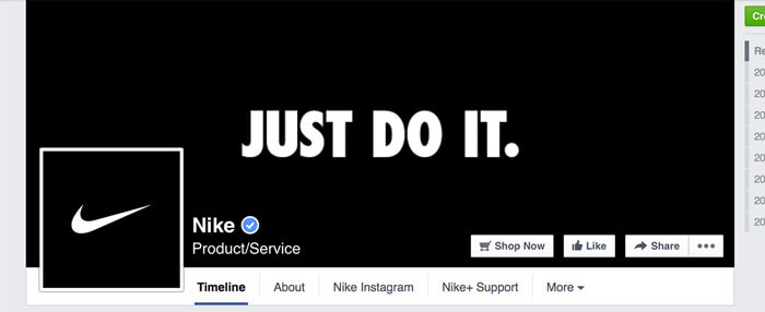 Profile picture and cover photo combo on Nike's Facebook page