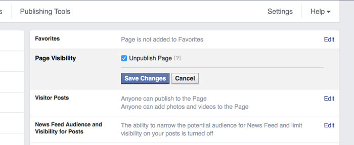 Unpublishing a Facebook page
