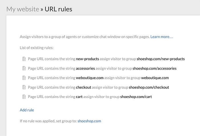 Setting up URL rules for websites in LiveChat