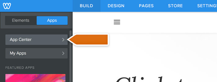 Accessing the App Center in Weebly
