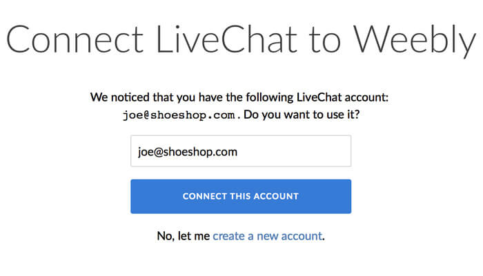 Connecting a LiveChat account to Weebly