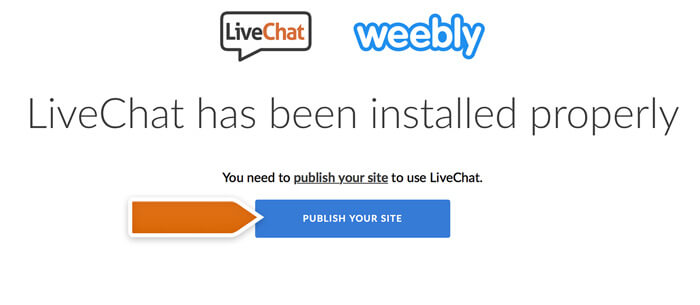 Publishing a Weebly website with LiveChat