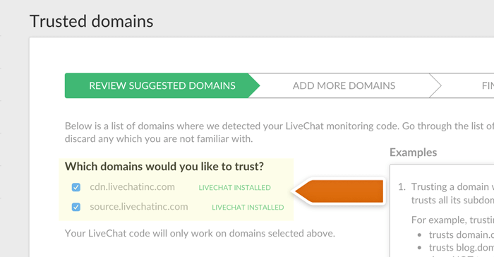 livechat code detected on trusted domains
