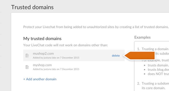 deleting livechat trusted domains