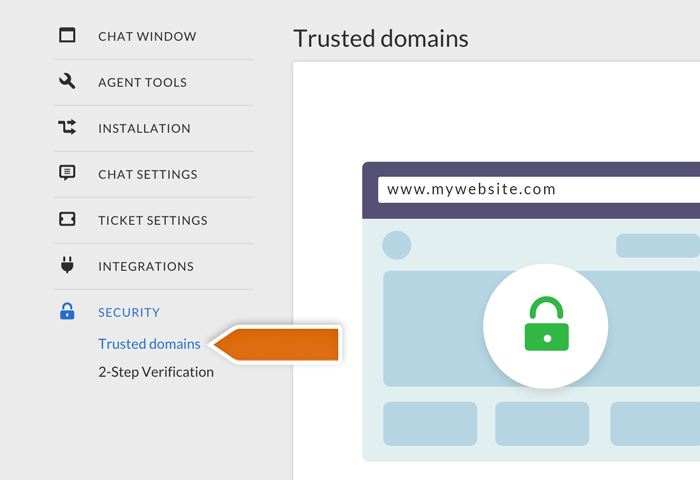 livechat trusted domains