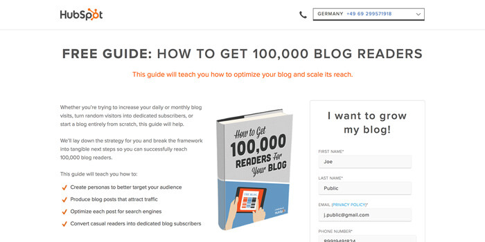 A textbook landing page example by HubSpot