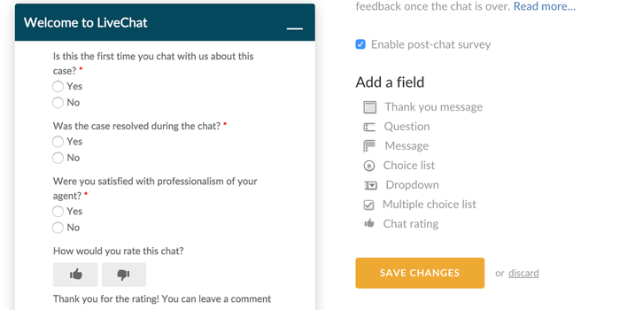 post-chat survey in LiveChat