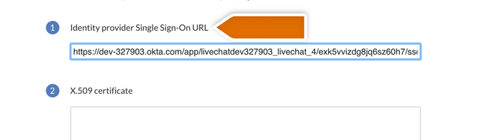 providing identity provider url in LiveChat