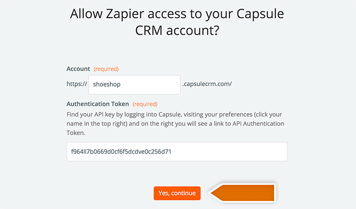 Capsule integration: Authorizing application in Zapier
