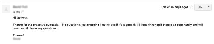 Customer feedback email response