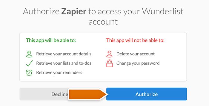 Wunderlist integration: authorizing Zapier's access