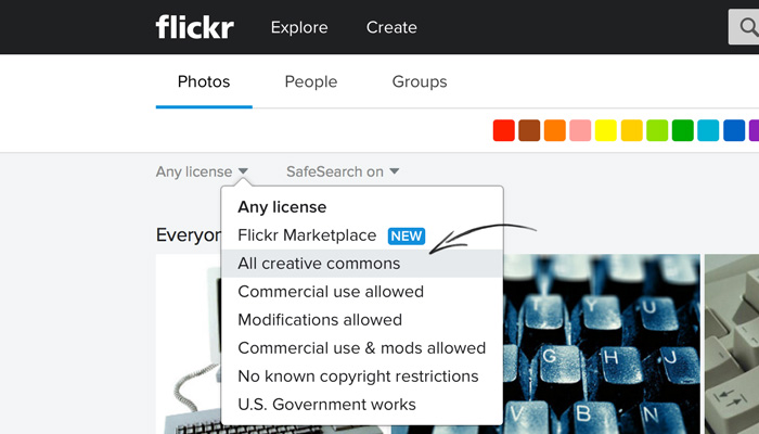 Using the Creative Commons filter on Flickr