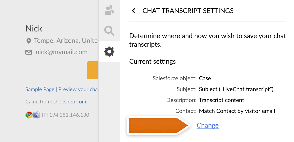 Change Salesforce object in LiveChat