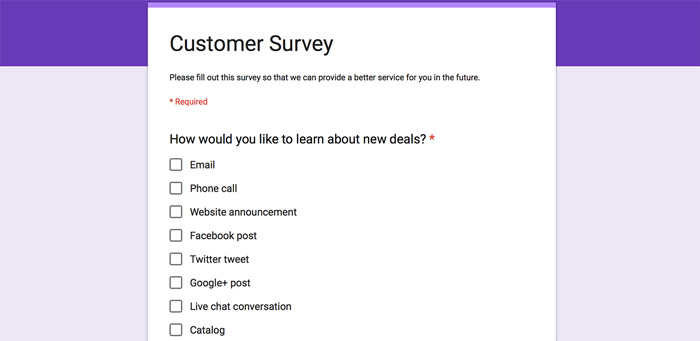 Multi-channel marketing surveys