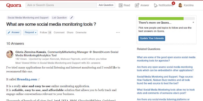 Quora social media monitoring