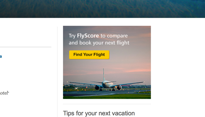 Call to action example: TripAdvisor's 'Find your flight' CTA