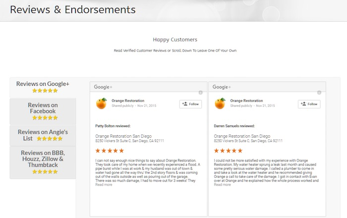 seo reviews and endorsements