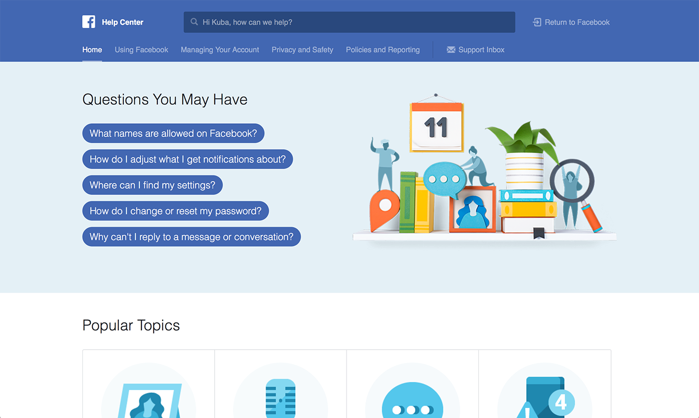 Facebook page help center