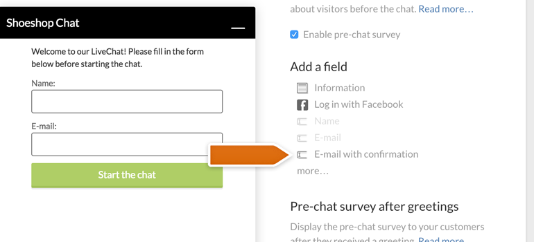 Adding E-mail with confirmation field to LiveChat
