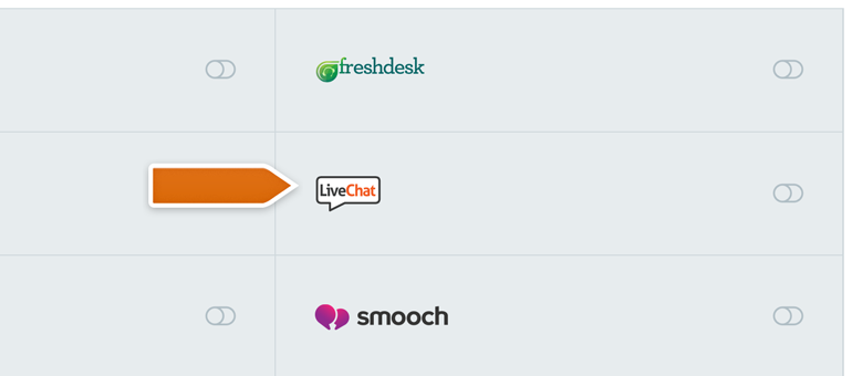 Choose LiveChat from the Integrations list