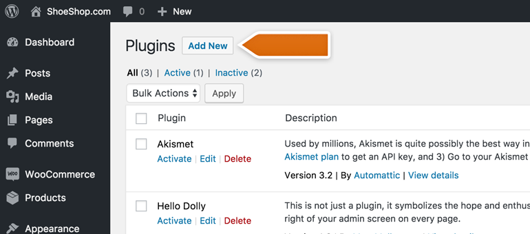 Click on Add New button in WordPress plugins
