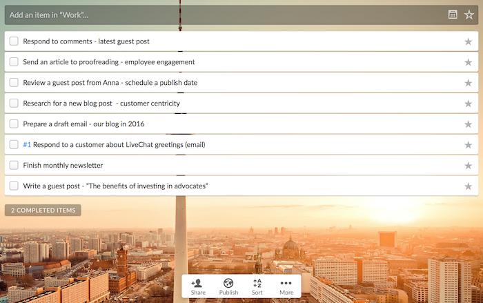 Wunderlist app for work