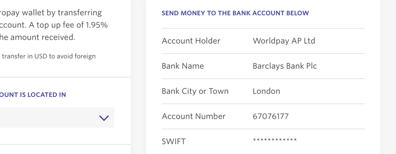 Get bank details and transfer funds from your bank account to Entropay
