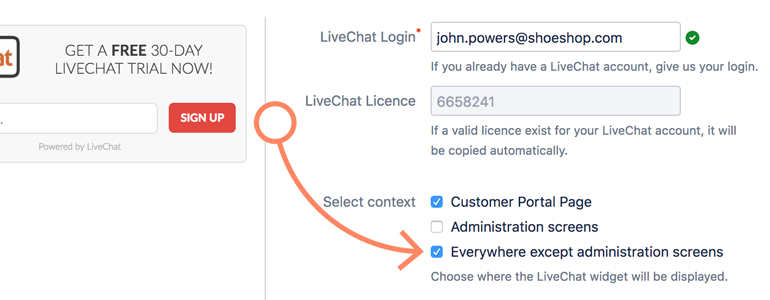 Jira: Choose where to display LiveChat widget in Jira