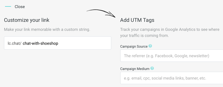 Add custom UTM tags to your link