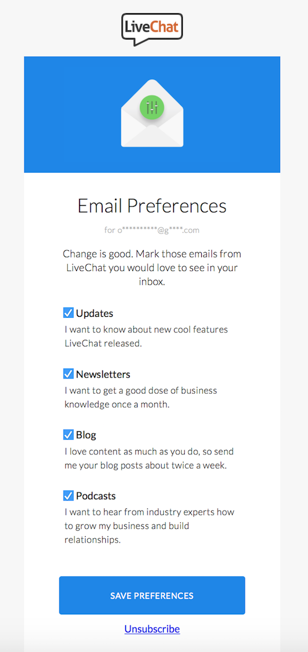 LiveChat unsubscribe page