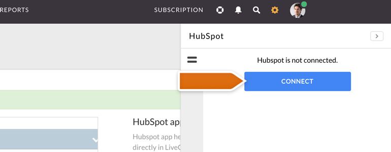 Click on Connect to link HubSpot with LiveChat