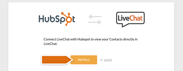 Install HubSpot app on your LiveChat