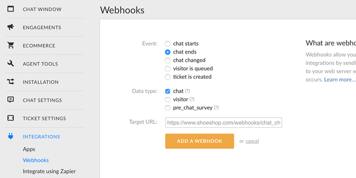 setting up chat ends webhook