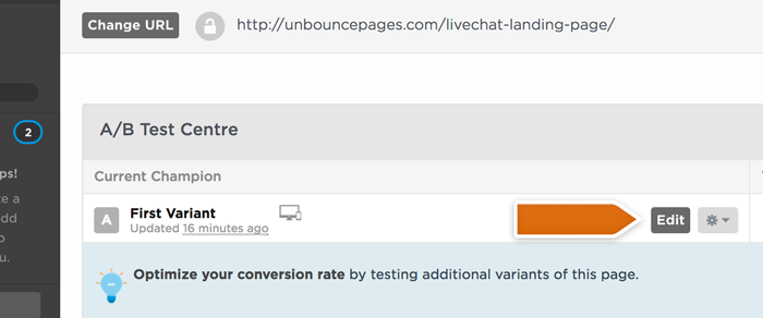 Choose landing page from Unbounce Dashboard