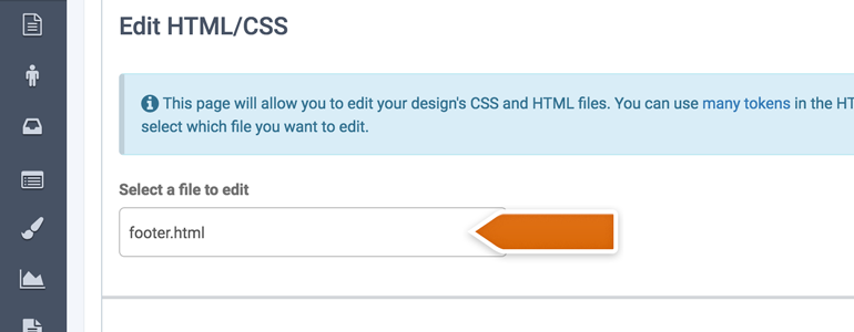 Choose footer.html as the edit file