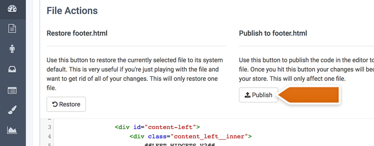 Publish changes to the footer
