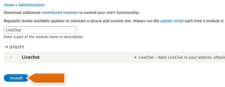 Choose LiveChat from the list of modules and click Install